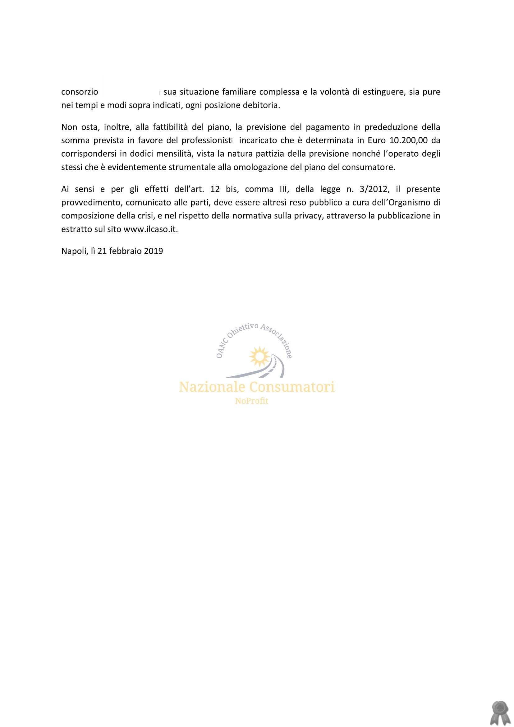 TR.DI NAPOLI 21 FEBBRAIO 2019 OMOLOGA  PIANO DELCONSUMATORE 4